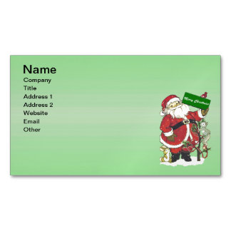 Santa Claus Cute Animals Merry Christmas Magnetic Business Cards