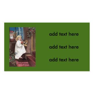 Santa Claus Cute Little Girl Toys Holly Business Card