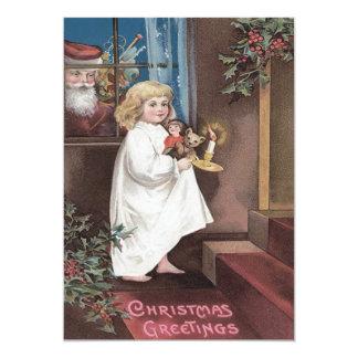 Santa Claus Cute Little Girl Toys Holly Card
