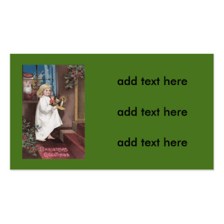 Santa Claus Cute Little Girl Toys Holly Double-Sided Standard Business Cards (Pack Of 100)