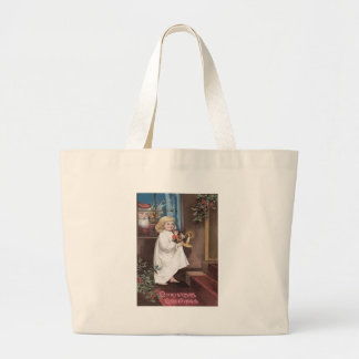 Santa Claus Cute Little Girl Toys Holly Large Tote Bag