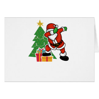 Santa claus dab christmas tree card