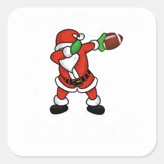Santa Claus dabbing Christmas Football touchdown Square Sticker
