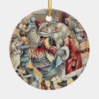Santa Claus Dancing with Mother Goose Ceramic Ornament
