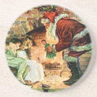 Santa Claus Delivering Presents Beverage Coasters