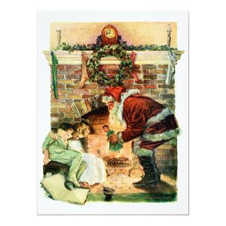 Santa Claus Delivering Presents Card