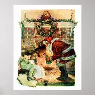 Santa Claus Delivering Presents Poster