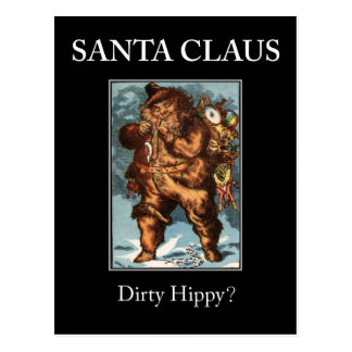 SANTA CLAUS dirty hippy? Xmas postcard! Postcard