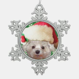Santa Claus Dog or Pet Snowflake Pewter Christmas Ornament