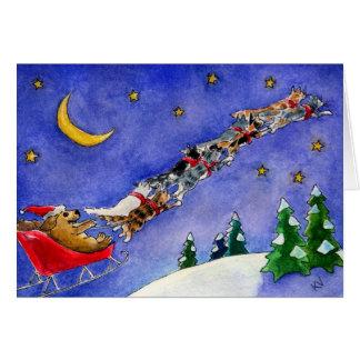 Santa Claus Dog Reindeer Cats funny Christmas card