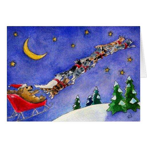 Santa claus dog reindeer cats funny christmas card zazzle for Funny reindeer christmas cards