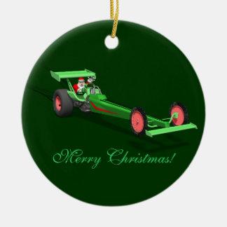 Santa Claus Drag Race Ceramic Ornament