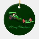 Santa Claus Drag Race Double-Sided Ceramic Round Christmas Ornament