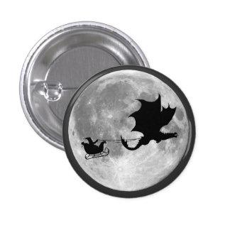 Santa Claus Dragon Rider Sleigh Ride 1 Inch Round Button