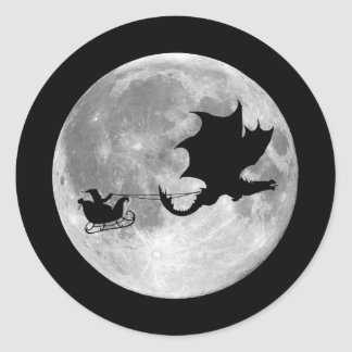 Santa Claus Dragon Rider Sleigh Ride Classic Round Sticker