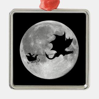 Santa Claus Dragon Rider Sleigh Ride Metal Ornament
