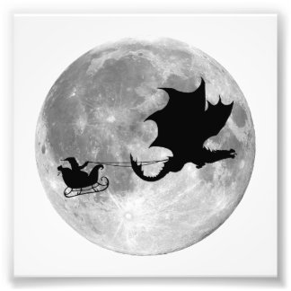 Santa Claus Dragon Rider Sleigh Ride Photo Print