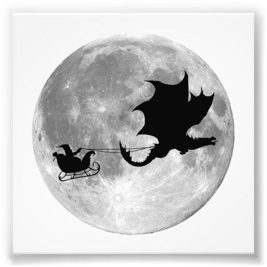 Santa Claus Dragon Rider Sleigh Ride Photo Print