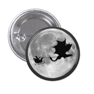 Santa Claus Dragon Rider Sleigh Ride Pinback Button