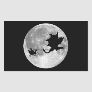 Santa Claus Dragon Rider Sleigh Ride Rectangular Sticker