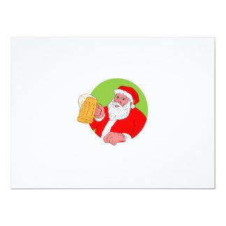 Santa Claus Drinking Beer Drawing Card