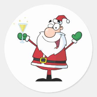 Santa Claus Drinking Champagne Classic Round Sticker