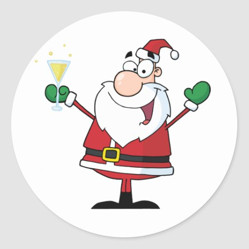 Santa Claus Drinking Champagne Round Sticker Zazzle