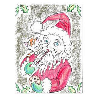 Santa Claus Drinking Soy Milk Postcard