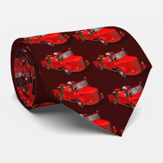 Santa Claus Driving A Fire Engine Neck Tie