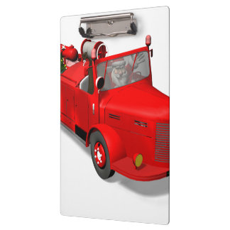 Santa Claus Driving A Fire Truck Clipboards