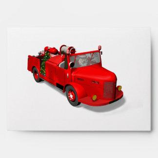 Santa Claus Driving A Fire Truck Envelopes