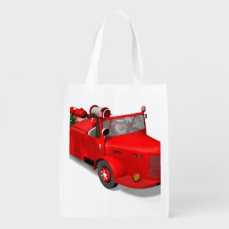 Santa Claus Driving A Fire Truck Market Totes