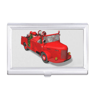 Santa Claus Driving A Fire Truck Business Card Cases
