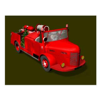 Santa Claus Driving A Fire Truck Postcard