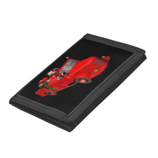 Santa Claus Driving A Fire Truck Trifold Wallets