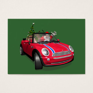 Santa Claus Driving A Mini Business Card