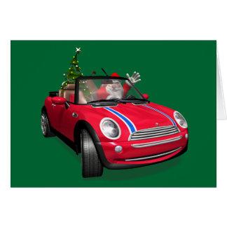 Santa Claus Driving A Mini Greeting Cards