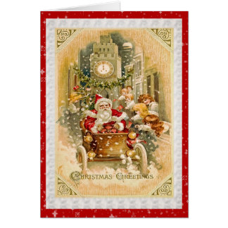 Santa Claus Driving to Town in Automobile Card