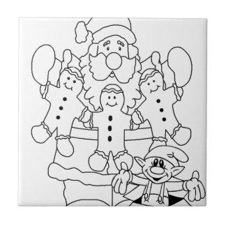 Santa Claus & Elf Ceramic Tile