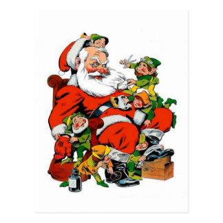 Santa Claus - Elf Grooming Postcard