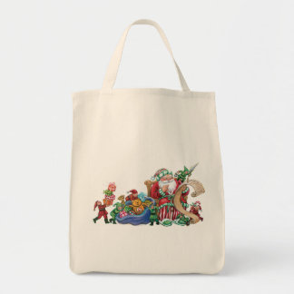 Santa Claus, Elves and Toys for Christmas Bag