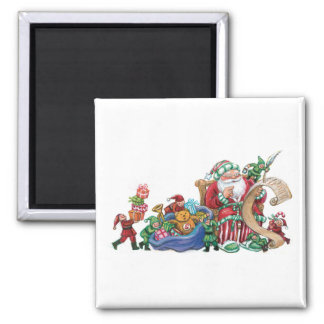 Santa Claus, Elves and Toys for Christmas Magnet