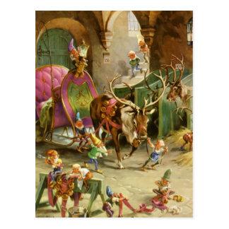 Santa Claus' Elves In HIs North Pole Workshop Postcard