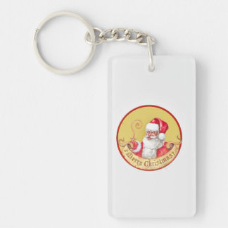Santa Claus emblem Single-Sided Rectangular Acrylic Keychain