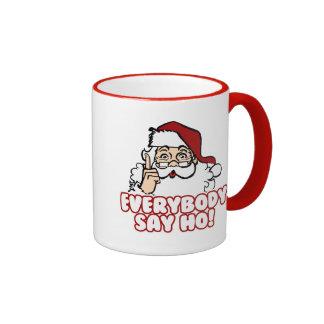 Santa Claus - Everybody Say Ho Ringer Coffee Mug