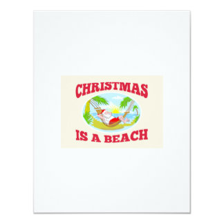 Santa Claus Father Christmas Beach Relaxing 4.25x5.5 Paper Invitation Card
