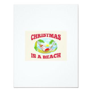 "Santa Claus Father Christmas Beach Relaxing 4.25"" X 5.5"" Invitation Card"