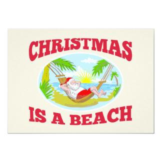 "Santa Claus Father Christmas Beach Relaxing 5"" X 7"" Invitation Card"