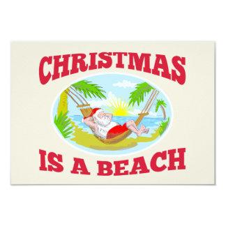 "Santa Claus Father Christmas Beach Relaxing 3.5"" X 5"" Invitation Card"