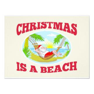 "Santa Claus Father Christmas Beach Relaxing 6.5"" X 8.75"" Invitation Card"